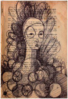 """""""Yo sé muy bien dónde está el duende"""" Tinta sobre hoja de libro. 26 x 34 cm 2012"""