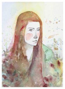 Laura Cordoba Artista plástica. Artes Visuale.Acuarelas. Silenciosa en el agua. Aleandra Pizarnik.