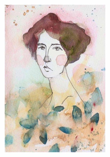 Laura Cordoba. Artista plástica. Artes Visuales. Acuarelas. Silenciosa en el agua. Aleandra Pizarnik.
