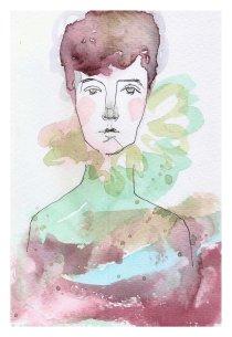 Laura Cordoba. Artista plástica. Artes Visuales.Acuarelas. Silenciosa en el agua. Aleandra Pizarnik.