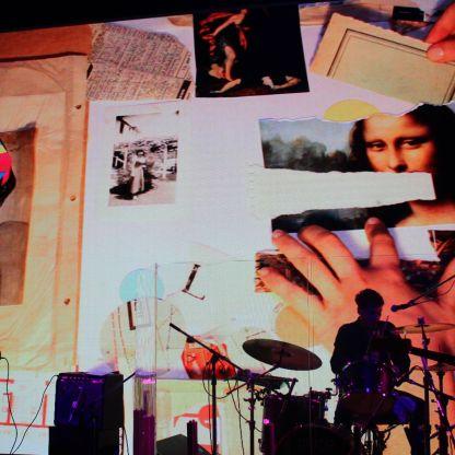 Collage en vivo en el Centro Cultural Kirchner (Laura Cordoba & Sebastián Durán - Rosario Bléfari) Foto: Juan Martín Bergerot
