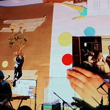 Collage en vivo en el Centro Cultural Kirchner (Laura Cordoba & Sebastián Durán - Rosario Bléfari) Foto: Fedra Spinelli